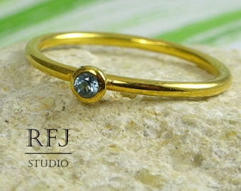 Yellow Gold Plated Natural Swiss Topaz Ring, Stackable December Birthstone 24K Gold Plated Ring, 2 mm Round Cut Swiss Blue Topaz Gold Ring