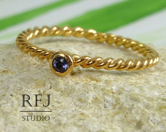 Natural Iolite Rose Gold Rope Ring, 14K Rose Gold Plated 2 mm Round Cut Genuine Iolite Ring, Braided Rose Gold Blue Iolite Gemstone Ring