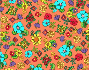 """Floral Fabric: PAINTED PONIES FLORAL Orange by Quilting Treasures 100% cotton fabric by the yard 36""""x43"""" (N540)"""