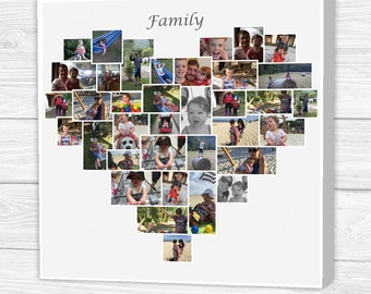 Small Personalised 'Love' Heart Photo Collage Canvas