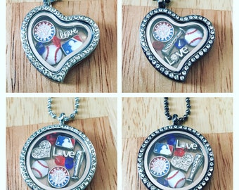 Texas rangers floating charm necklace!