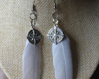 Earrings grey pen and compass