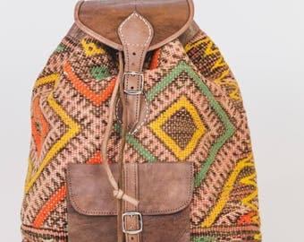 Kilim backpack Kilim bag backpack boho Leatherbag leather leather bag leather backpack Orange, Morocco Moroccan handmade style