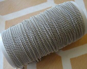 Bulk Chain, 33 Feet Silver Curb Chain, 10M Curb Link Chain, Soldered Link Chain, Delicate Silver Tone Iron Curb Chain