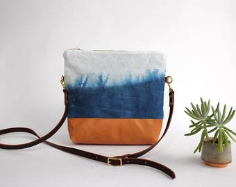 Indigo dyed, Waxed Canvas and Leather Convertible Crossbody Bag/Clutch - prairie