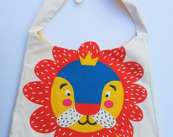 Lion Print fabric tote bag for children