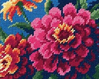 Zinnias Flower Needlepoint Kit- SHIPS FREE