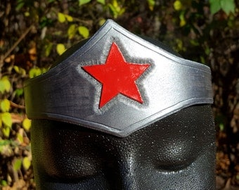 Warrior Woman Leather Tiara - Silver or Gold Crown with Red Star Comic Costume Accessory