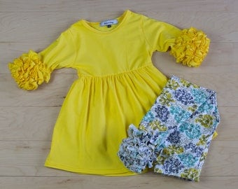Infant/toddler/girls fall outfit Solid 3/4 ruffled sleeve flutter boutique style little girls dress with printed floral icing leggings.