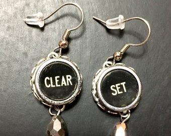 Typewriter key earrings, vintage typewriter key earrings, typewriter earrings.