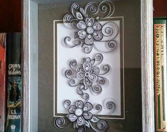 Quilling flowers 8x10 shadow box