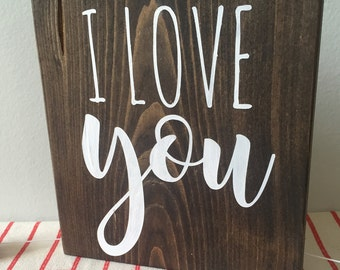 I Love You Wooden Mini Sign