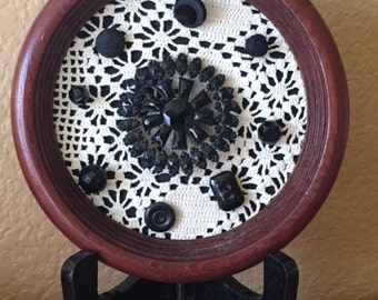 Vintage Framed Lace & Button Picture on Stand