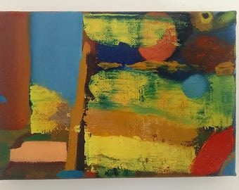 """Daymer Small Abstract Oil Painting 7""""x4.75""""x0.75"""""""
