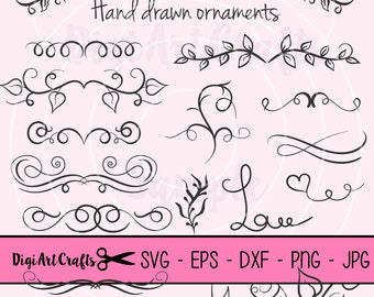 Boarder clipart, Ribbons, Calligraphy, Boarder, DIY Logo Set, Leafy Clip art for scrapbooking, wedding invitations, Small Commercial Use