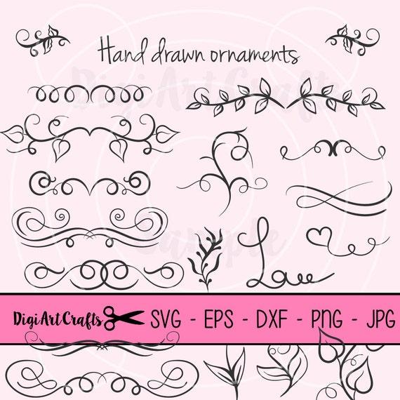 Boarder clipart ribbons calligraphy diy logo set