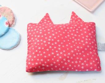 Heating pad in cherry pits cat stretch Picot lace around fuchsia KIDS