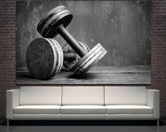 Large black and white dumbbells photography wall print art home decor, gym decor dumbbells wall art canvas print set motivational poster set