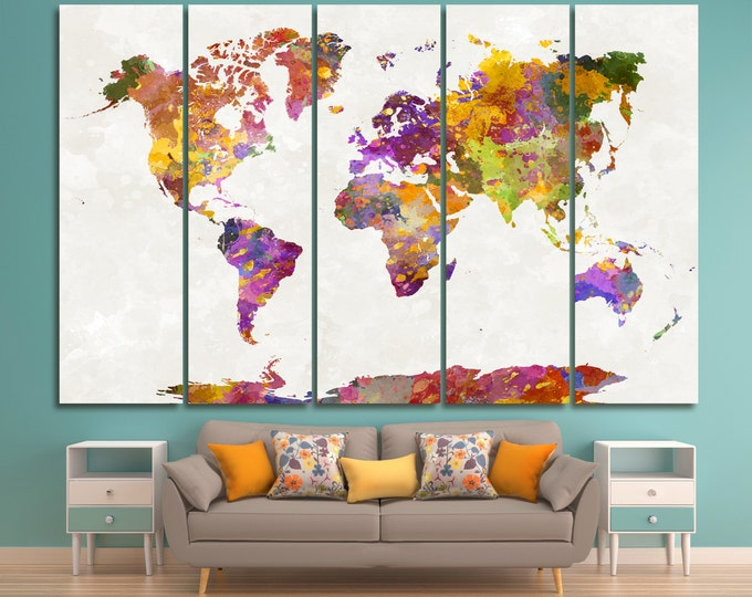Large world map canvas wall art set of 3 or 5 panels Extra Large Wall Art World Map Watercolor World Map Large world Map canvas Home Decor