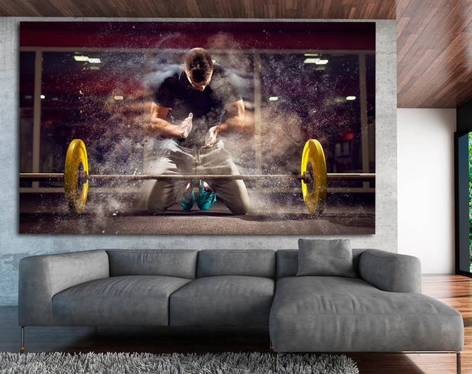 Large colorful gym wall decor modern photography art print set of 3 or 5 panels on canvas, workout motivation gym wall art canvas poster set