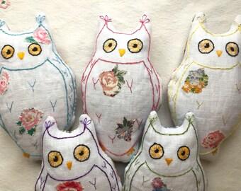 Hand-embroidered Lavender Owl, Lavender-filled Owl, Embroidered Owl lavender bag