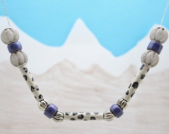 Upcycled Snow Leopard Necklace I