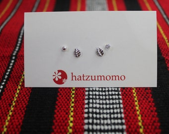 Leaf Stud Earring Set Sterling Silver 925