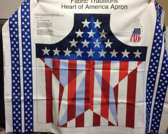 Heart Of America Adult Apron/4th of July/ Large Star