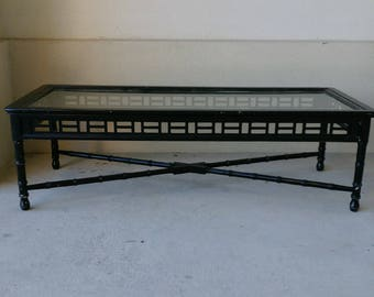 ON HOLD Vintage Fretwork Faux Bamboo Coffee table | Palm Beach | Hollywood Regency