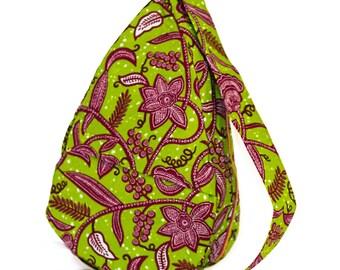 Sling Bag; Fair Trade; Green and Maroon Vines; Single Strap; Day Bag