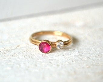 Gold Ruby Ring Set. Gold Filled Ring, Stacking Ring, Stackable Ring, Red Gemstone Ring, Gold Dainty Ring, Small Gemstone Ring,Stacking Rings