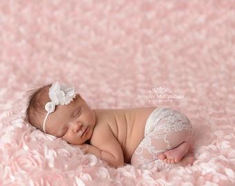 Lace Drawstring Pant, White, NB~ Newborn Photography Prop, Lace Bloomer
