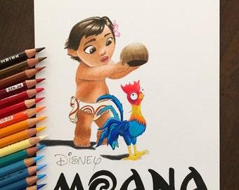 Baby Moana and Hei Hei Print / Disney Gift Idea