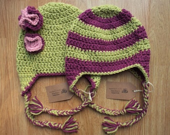 Bright Coloured Crocheted Baby and Toddler Hat (Floral/Striped)