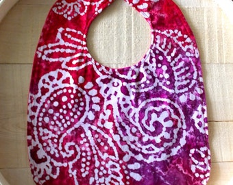 Red and White Batik Print Infant Bib (Booties sold separately)