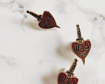Wild Heart and Dagger enamel pin