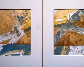 Abstract Gold and Blue Painting Set of Two Textured Metallic Wall Decor Art Original Mounted 8 x 10