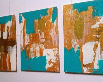 Abstract Gold Acrylic Painting / Set of Three Small Painting Set of Wall Art / Gold Blue Original on Canvas 5 x 7 Painting Textured Art Gift