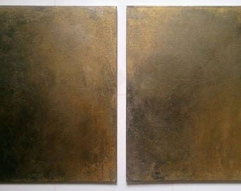 Abstract Painting Set of Two on Canvas Painting Original Art Gold Black Silver Set of 2 Paintings / Art Gift Set Wall Art Original