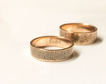 Fingerprint Ring in Sterling Silver - Handwriting Band – Custom Name Ring- Keepsake Gift - Wedding Band - Personalized Gift