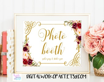 Wedding Photo Booth Sign, Photo Guest Book sign, Photo Booth Printable, Printable Wedding Sign, Instant Download Floral boho sign, #LC