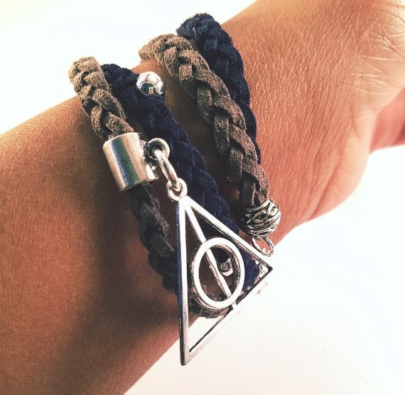 Silver deathly hallows charm ravenclaw new colors navy and for Elder wand markings
