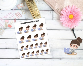 Laptop Work/Study Girl Character - Planner Stickers