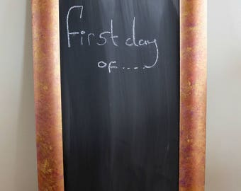 Large Framed  blue and gold Wooden Framed Chalk Board Notice Board Wedding / Home
