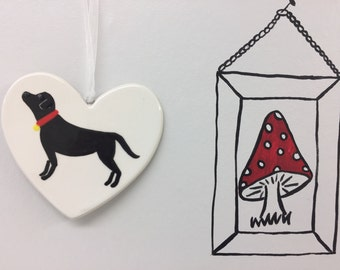 Hand painted Ceramic Heart - Black Labrador - dog, thank you, friend, birthday, christmas, heart, him, her