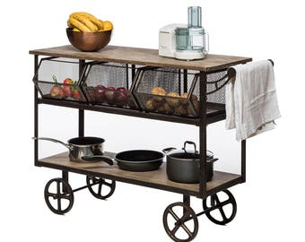 Kitchen Space Saver Storage Vintage Industrial Trolley
