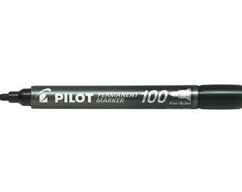 Pilot Permanent Marker 100, Fine Bullet Tip, Black Single Pen, Glass Marker, Paper Marker, Water Resistant, Xylene & Toluene Free
