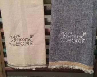 Decorative kitchen towel, Welcome to Our Home kitchen towel, Embroidered kitchen towel, Housewarming gift, Kitchen dishcloth, #3, #7