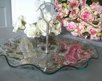 Vintage Glass Floral Cake Stand/Tableware/Home Decor/Afternoon Tea/English