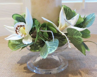 Spring candle ring with orchids and green leaves. Spring sale price!